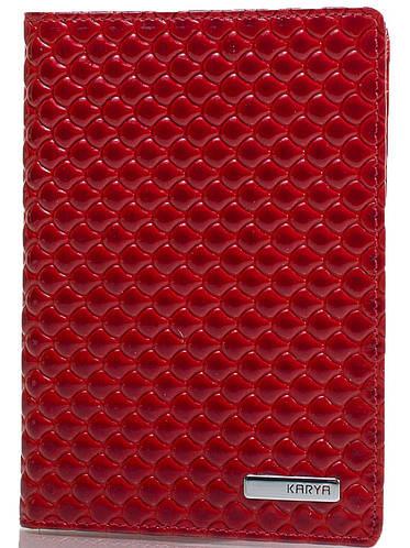 Яркая женская обложка для паспорта из натуральной кожи KARYA (КАРИЯ) SHI092-122 красный