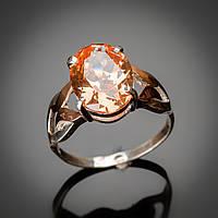 Серебряное женское кольцо с крупным камнем кубического циркония и вставками золота