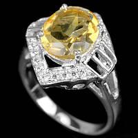 Цитрин, серебро 925, 066КЦ кольцо
