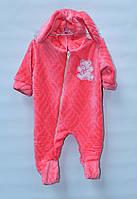 Комбинезон махровый для новорожденных Кролик розовый