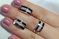 Женские украшения из серебра с золотом - кольцо и серьги