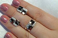 Набор серебряных украшений с золотом - кольцо и серьги