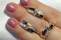 Набор женских украшений из серебра с накладками золота