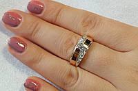 Женские серебряное колечко с цирконием и золотом