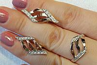 Комплект серебряных украшений с золотом - кольцо и серьги