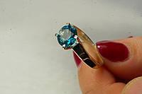 Красивое серебряное кольцо 925 с золотом и голубым камнем