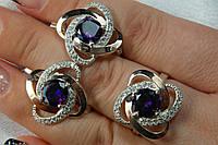 Комплект украшений - серебряное кольцо и серьги