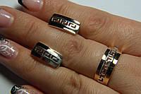 Комплект украшений из серебра 925 пробы с золотом