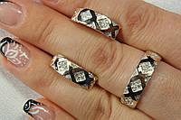 Набор серебряных украшений с вставками золота - кольцо и серьги