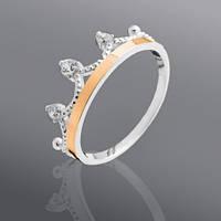 Серебряное кольцо Корона с золотом и фианитами