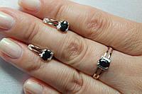 Набор  женских серебряных украшений с золотым пластинами - кольцо и серьги