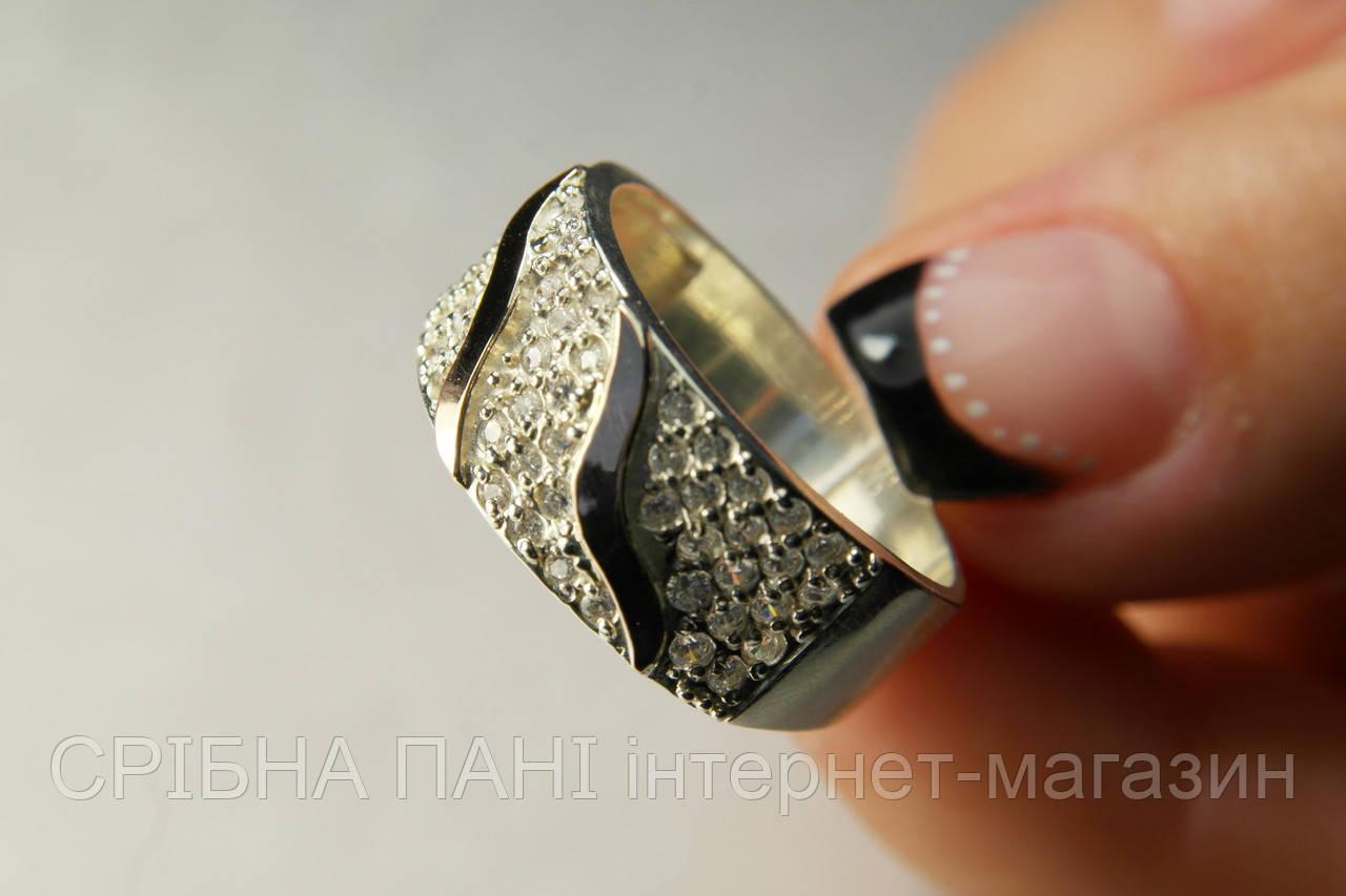 36a596586369 Серебряное кольцо 925 пробы с золотом и мелкими фианитами  продажа ...