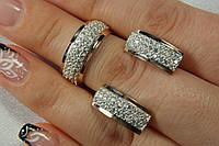 Серебряный набор украшений с кристаллами и золотом