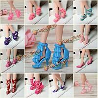 40 пар разной обуви на высоком каблуке сапоги аксессуары для куклы Барби