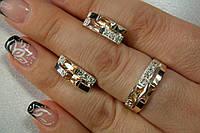 Серебряный комплект украшений  с золотом и фианитами