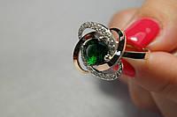 Шикарное женское кольцо из серебра и золота с фианитами