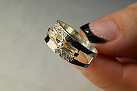 Кольцо из серебра 925 пробы с золотом и фианитами