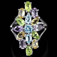Аметист, хризолит, цитрин и топаз, серебро 925, 067КА кольцо