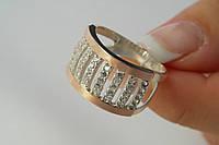 Кольцо широкое серебро 925 пробы с золотом и камнями