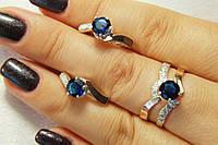 Серебряный комплект украшений кольцо и серьги с синими камнями