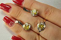 Комплект серебряных украшений с вставками золота и фианитом цвета цитрин