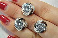 Набор серебряных украшений с красивым глубоким камнем