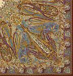 """Платок Павлопосадский шелковый (крепдешин, бахрома) """"Жасмин"""", 130х130 см рис.1176-16, фото 2"""