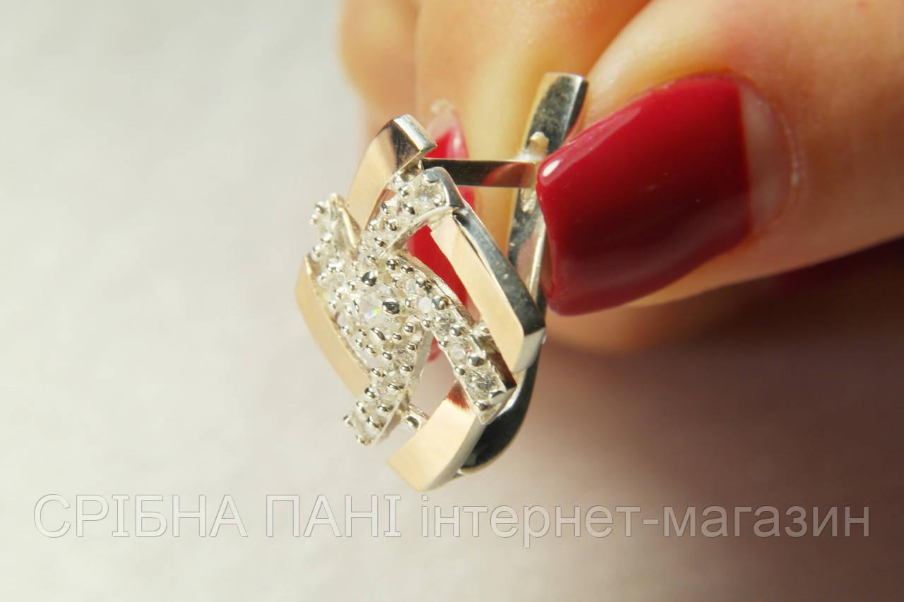 Эффектные серьги из серебра 925 пробы с фианитами и золотом - СРІБНА ПАНІ  интернет-магазин b0d3d7adb8d