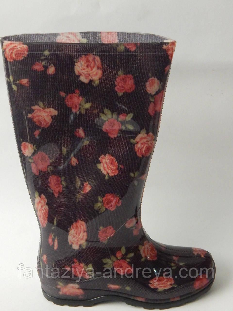 5546174e6 Женские силиконовые сапоги СЖП-4/2 розочка, цена 135 грн./пара, купить в  Одессе — Prom.ua (ID#362568219)