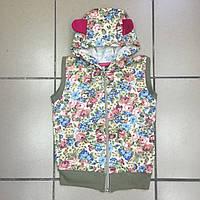 Детская жилетка с капюшоном (начёс) для девочек оптом р.2-9 лет