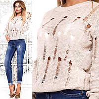 Женский свитер хлопковый цвет бежевый