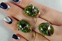 Гарнитур из серебра с зеленым янтарем и золотом