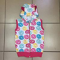 Детская жилетка с капюшоном (начёс)для девочек оптом р.2-9 лет