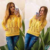 Женский свитер хлопковый цвет желтый