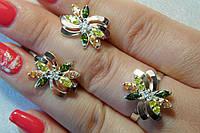 Набор серебряных украшений с разноцветными камнями