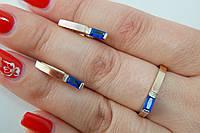 Серебряные украшения с вставками золота - кольцо и серьги