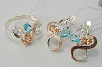 Комплект серебряных украшений - кольцо и серьги - с разноцветными цирконами