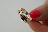 Оригинальное кольцо из серебра с черными цирконами и золотом