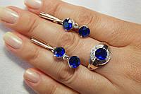 Набор серебряных украшений с синими фианитами - кольцо и серьги-висюльки