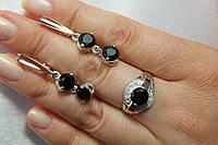 Женский гарнитур из серебра 925* с черными камнями и золотом