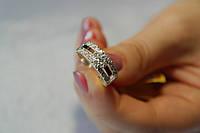 Кольцо серебро с золотой пластиной и камнями