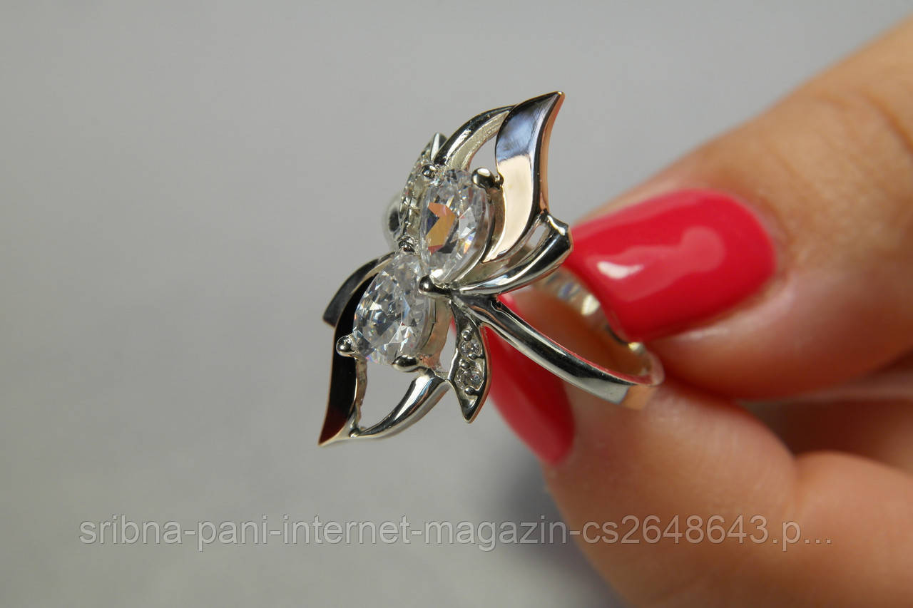 Кольцо из серебра 925 пробы с золотом и белыми фианитами - СРІБНА ПАНІ  интернет-магазин 7905d2dd3eb