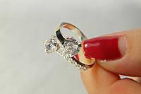 Кольцо серебряное 925* Поцелуйчик с золотом