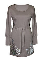 Классическое женское платье/туника из трикотажа на весну/осень для пышных форм, с манжетами на рукавах.