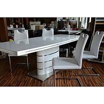 Стіл обідній Fano стільниця МДФ Білий лак, каркас матова сталь 140-200x90 (Signal TM), фото 3