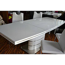 Стіл обідній Fano стільниця МДФ Білий лак, каркас матова сталь 140-200x90 (Signal TM), фото 2