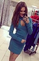 Красивое  женское платье с ажурным вырезом ангорка