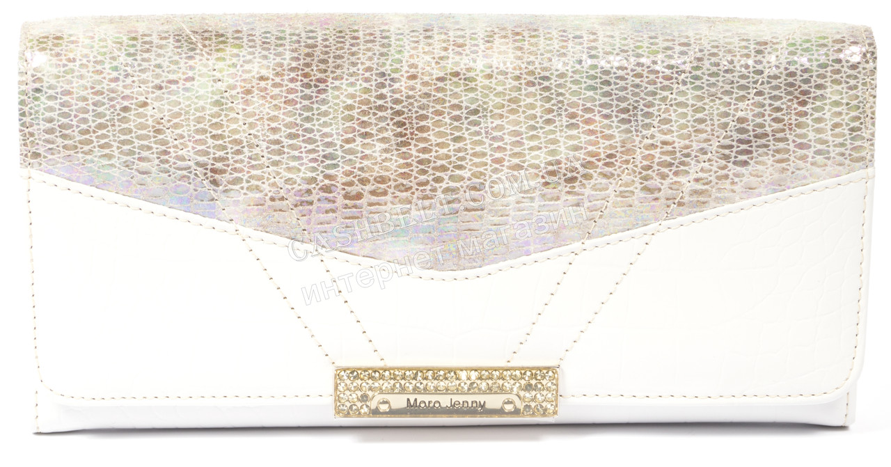 Стильный женский  лаковый кошелек белого цвета MORO art.MR-100-21 H