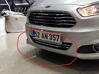 Ford Courier 2014+ гг. Накладки в бампер (2 шт, нерж)