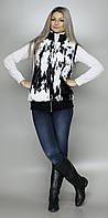 Жилет женский из искусственного меха черно-белого цвета (в розницу +70грн)